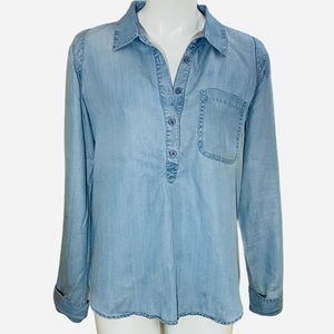 Guess denim blue tunic top. Long sleeves.